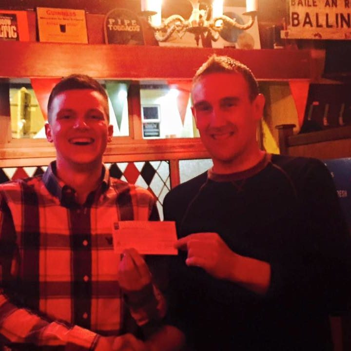 Winner of this weeks 50/50 draw was Stephen Fahy, Eskerlavalla who wins €538 pictured with ticketseller Paddy Burke