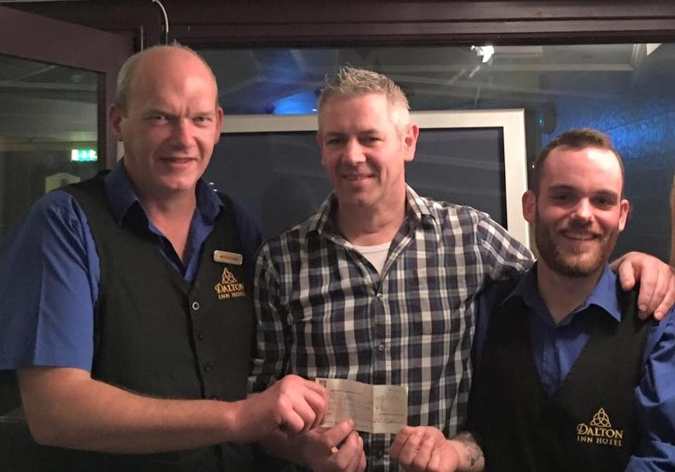 This weeks winner of the 50/50 draw are Mick Sullivan/Tony Walsh who win €655,pictured here being presented with their cheque by Peter Reaney.